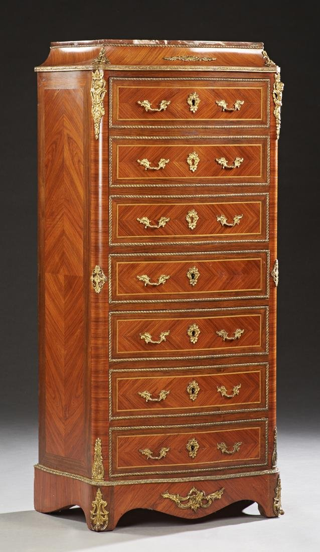 French Louis XV Style Carved Inlaid Mahogany Ormolu