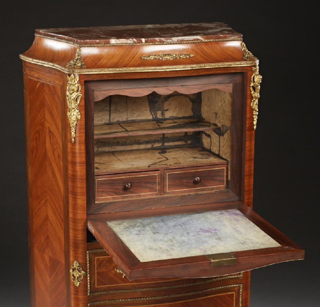French Louis XV Style Carved Inlaid Mahogany Ormolu - 2