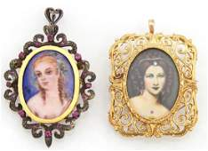 Two 18K Yellow Gold Italian Female Portrait