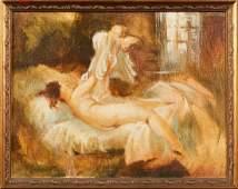 "American School, ""Disrobing Nude Female on Bed,"" 20th"