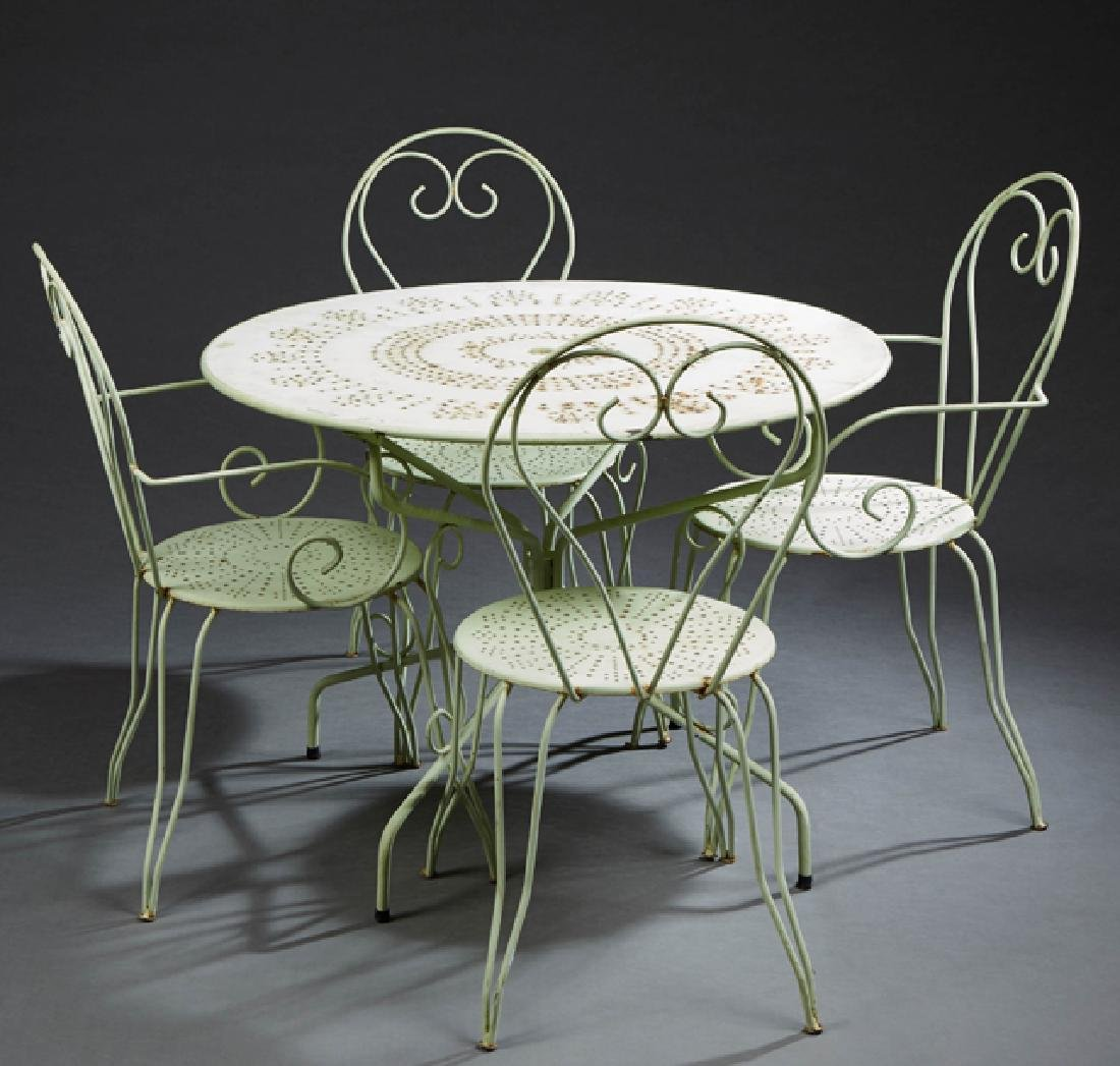 French Five Piece Wrought Iron Patio Set, early 20th