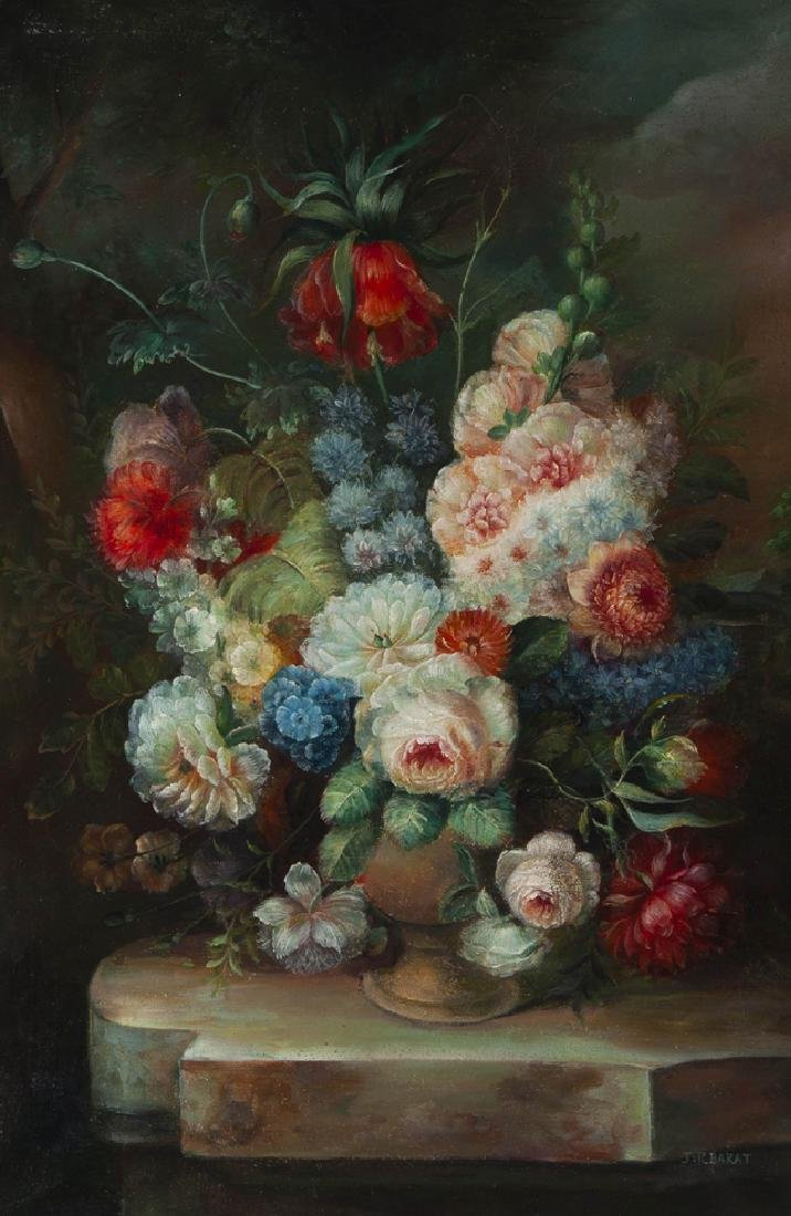 """Chinese School, """"Floral Still Life,"""" 20th c., oil on - 2"""