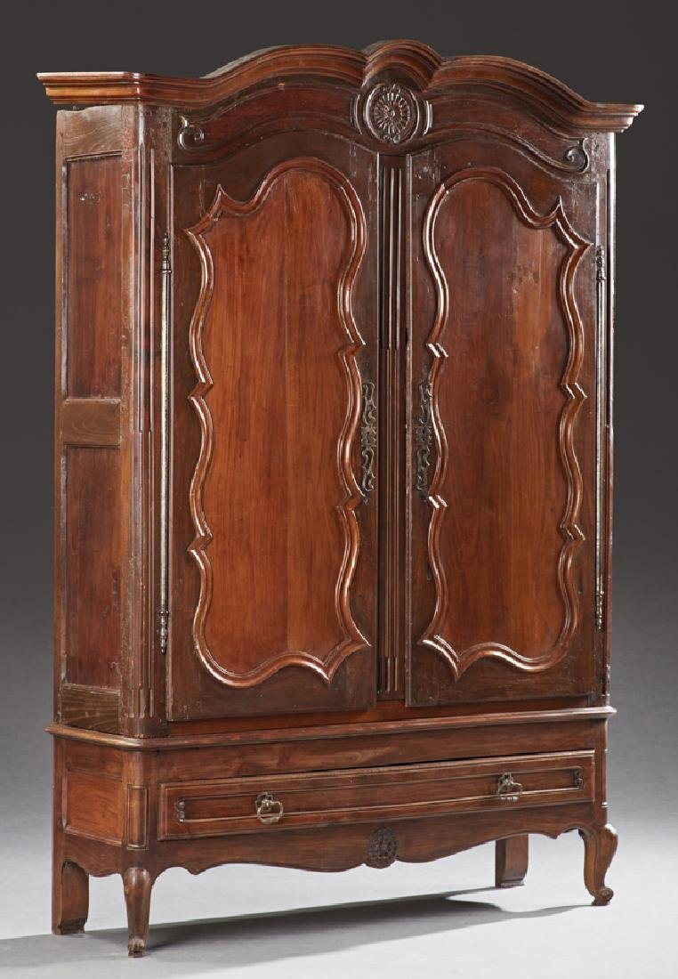French Louis XV Style Carved Walnut Armoire, 19th c.,