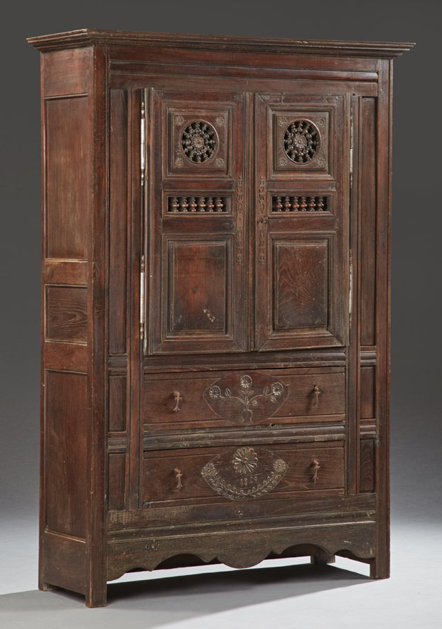 French Provincial Carved Oak Armoire, 19th c.,
