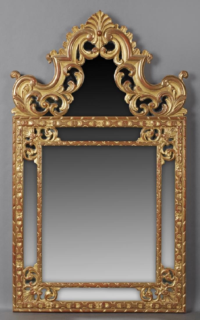French Louis XV Style Gilt and Gesso Overmantle Mirror,