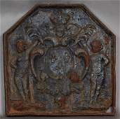 Cast Iron Fireplace Back 19th c of hexagonal form