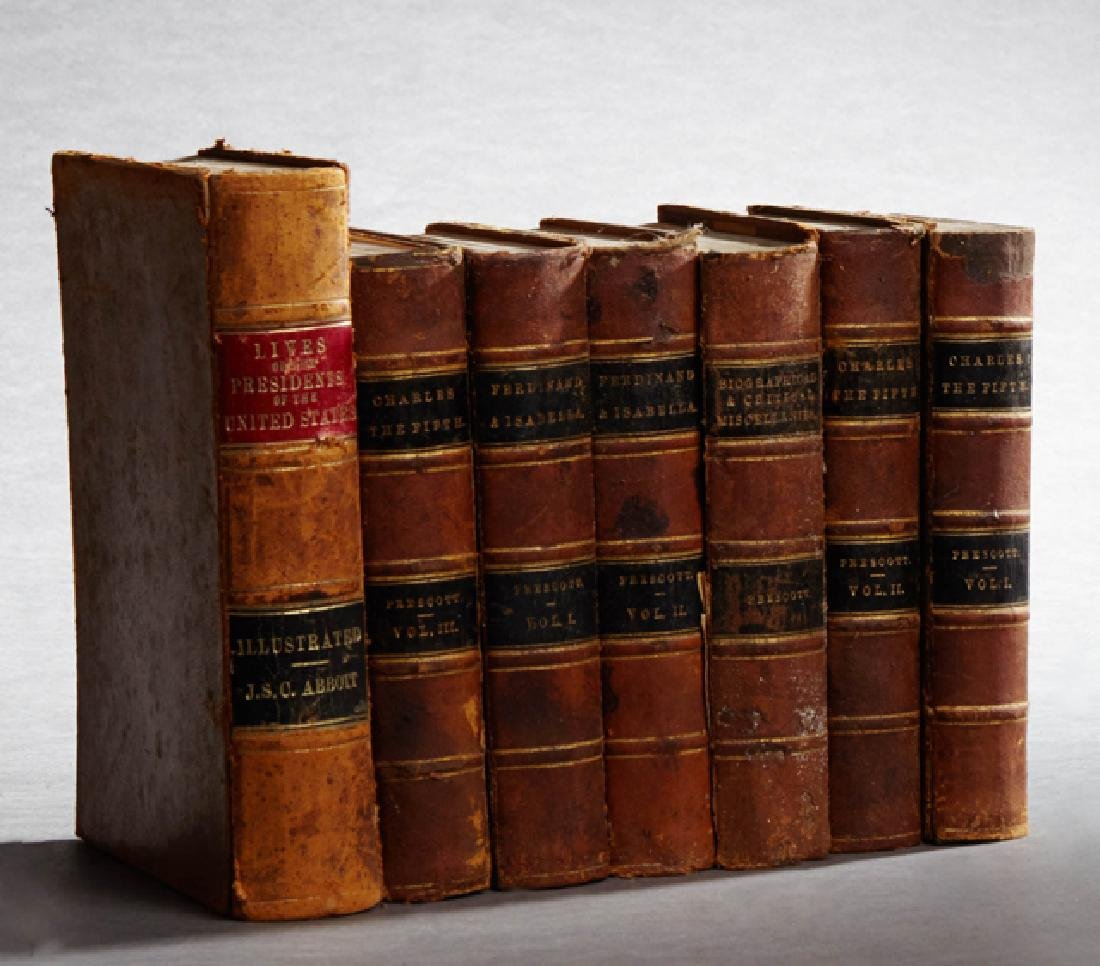 Group of Seven Leather Bound Books, consisting of three