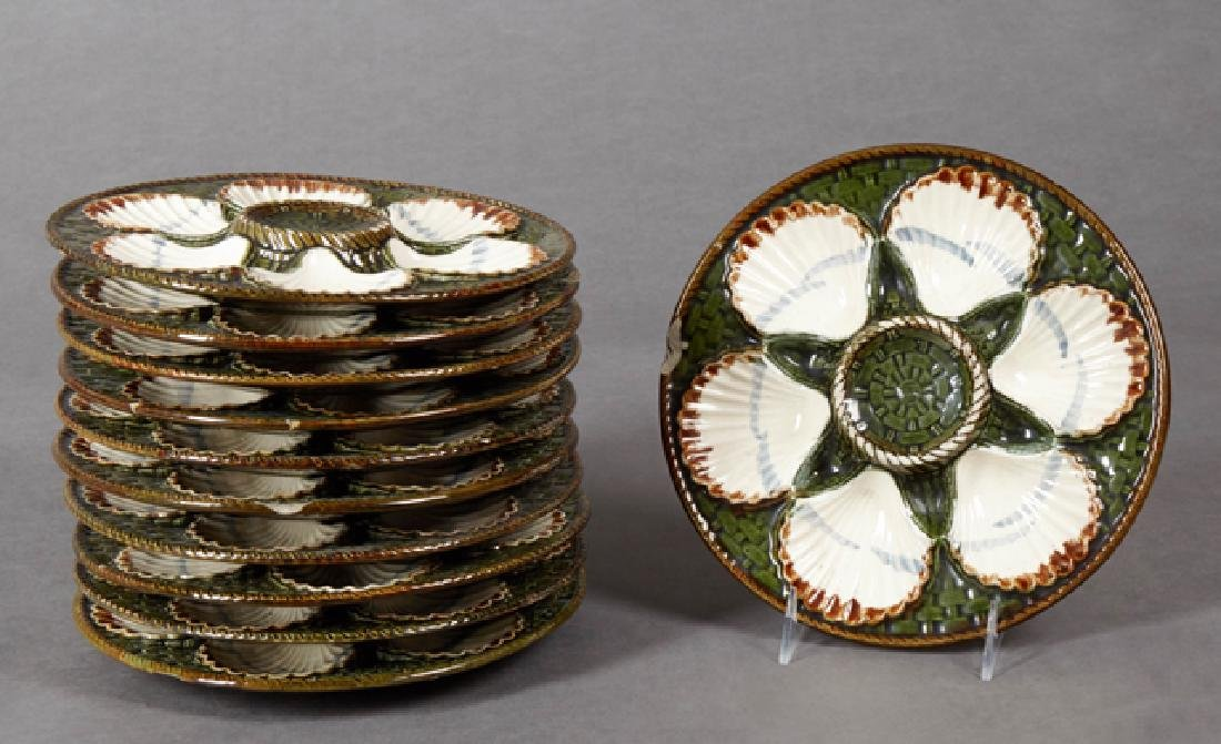 Set of Eleven French Majolica Oyster Plates, 19th c.,