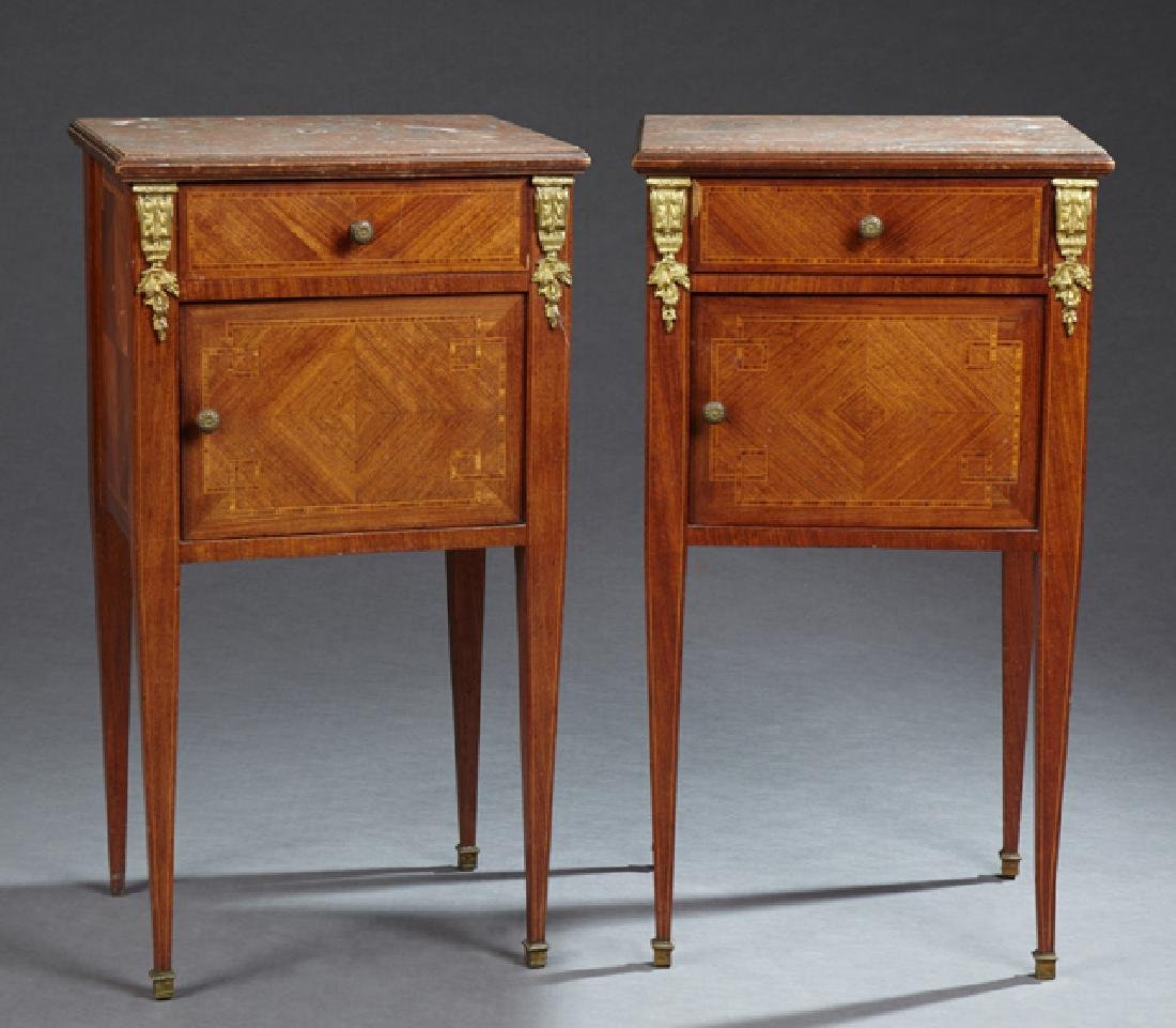 Pair of French Louis XVI Style Ormolu Mounted Mahogany