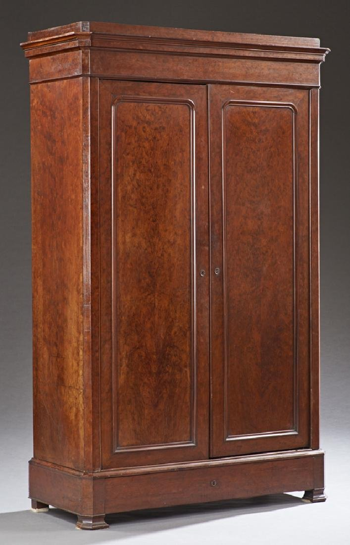 French Louis Philippe Carved Mahogany Armoire, c. 1880,