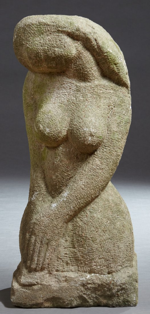 Carved Limestone Garden Figure, 19th c., of a nude fema