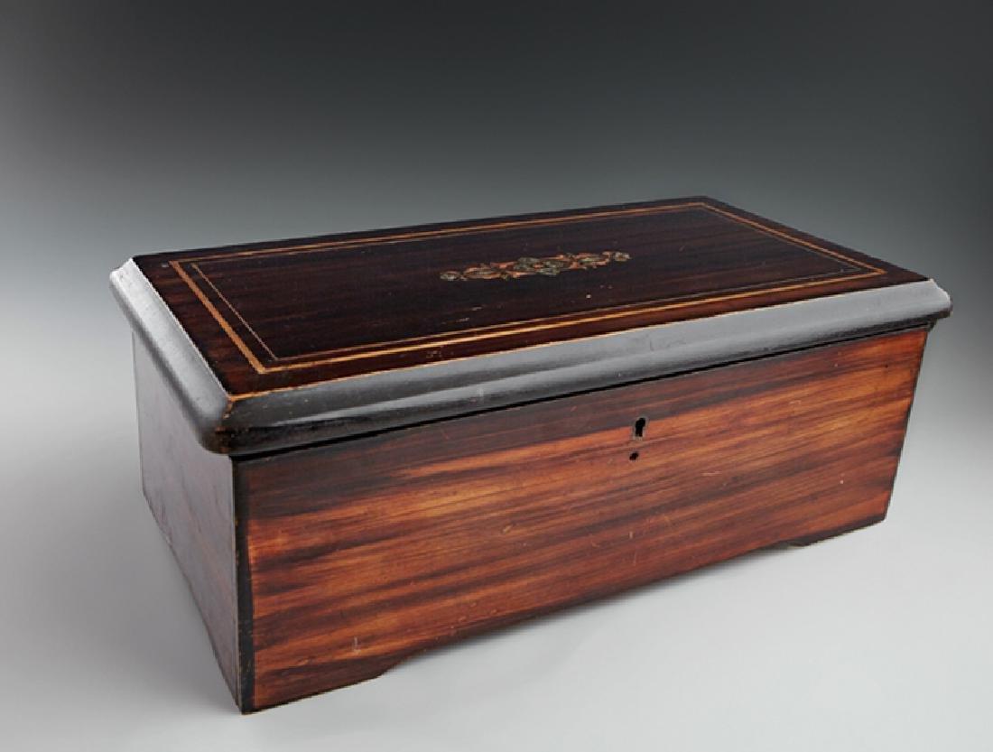French Inlaid Ebonized Mahogany Music Box, 19th c.,