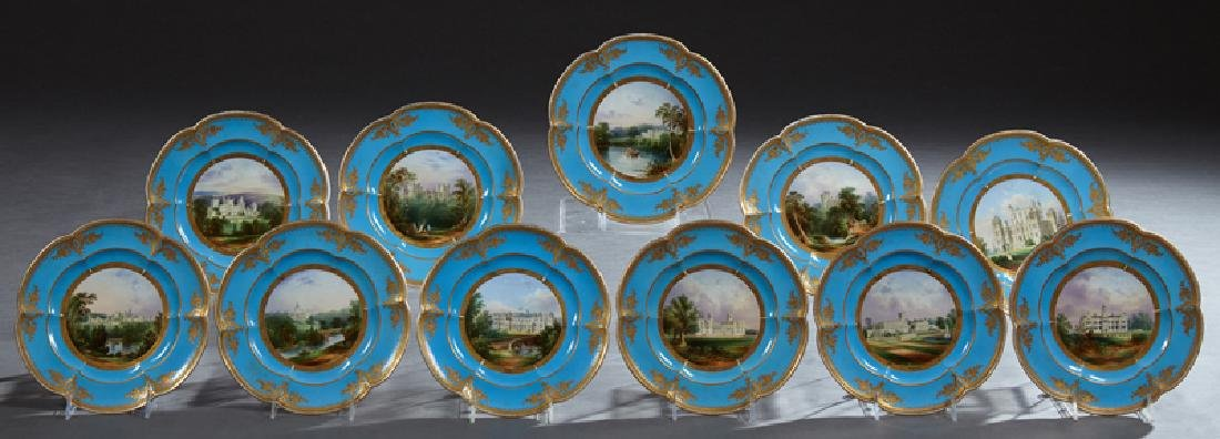 Set of Eleven English Coalport Cabinet Plates, 19th c.,