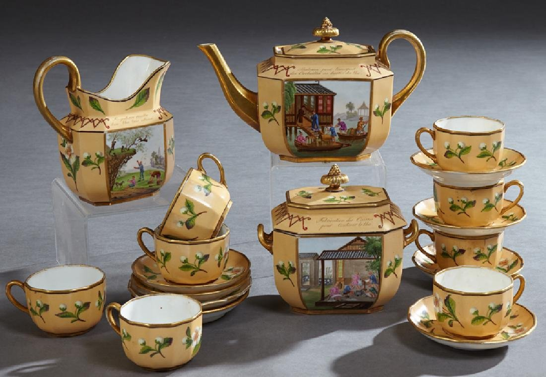 Rare Nineteen Piece Old Paris Porcelain Tea Set, c. 179