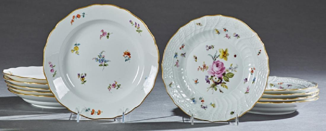 Set of Eleven Meissen Porcelain Soup Bowls, 19th c.,