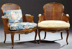 Pair of French Louis XV Style Beech Carved Bergeres,