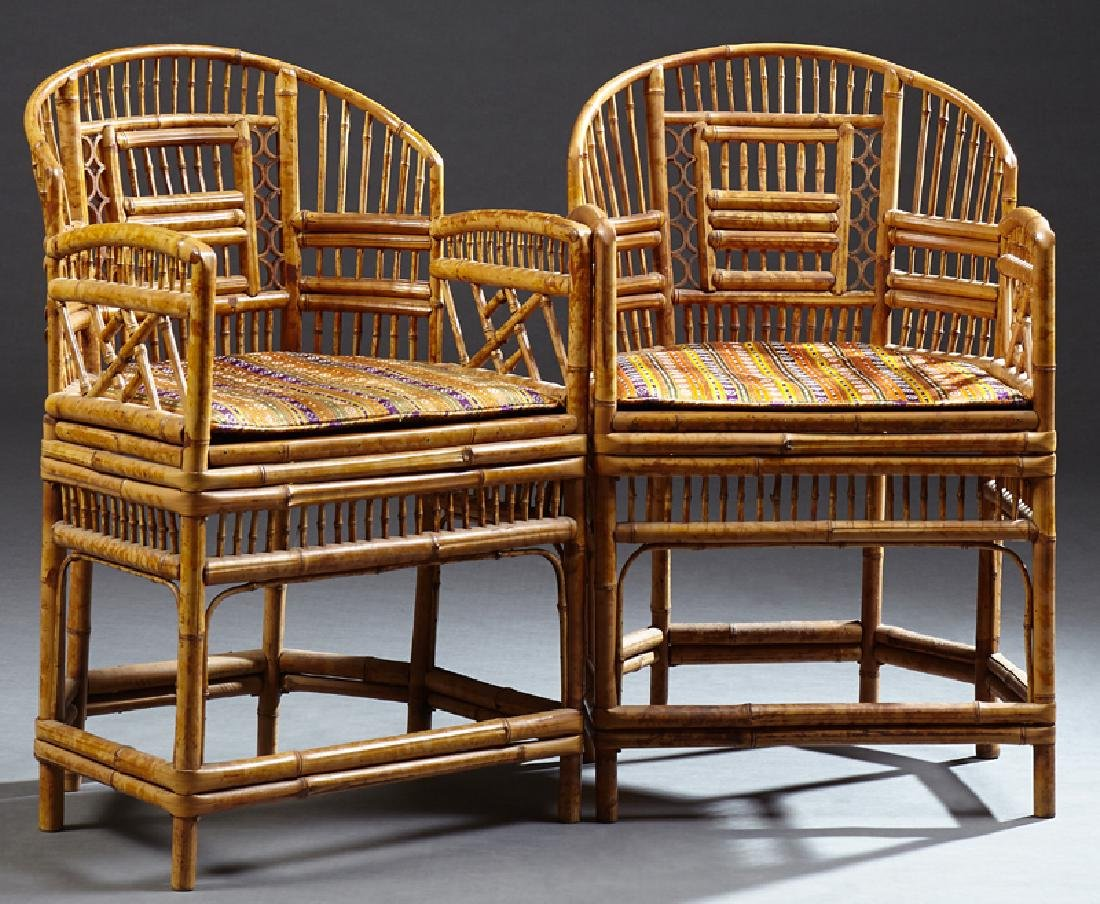 Pair of Chinese Barrel Bust Armchairs, mid 20th c., the
