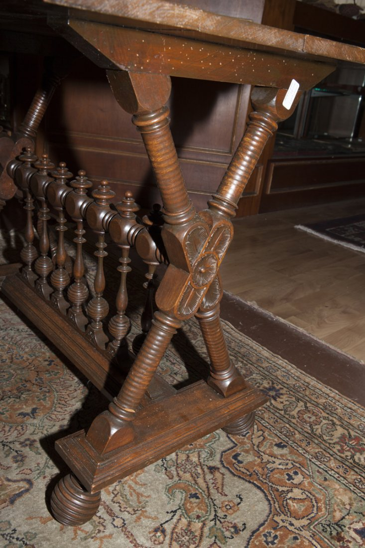 American Renaissance Revival Carved Walnut Side Table, - 6