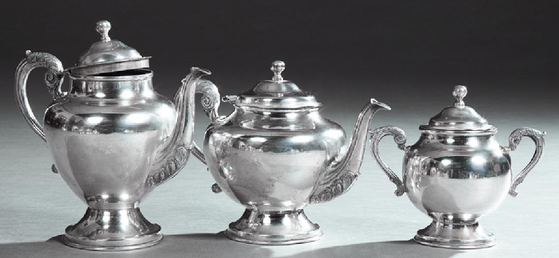 Three Piece Mexican Sterling Coffee and Tea Set, 20th
