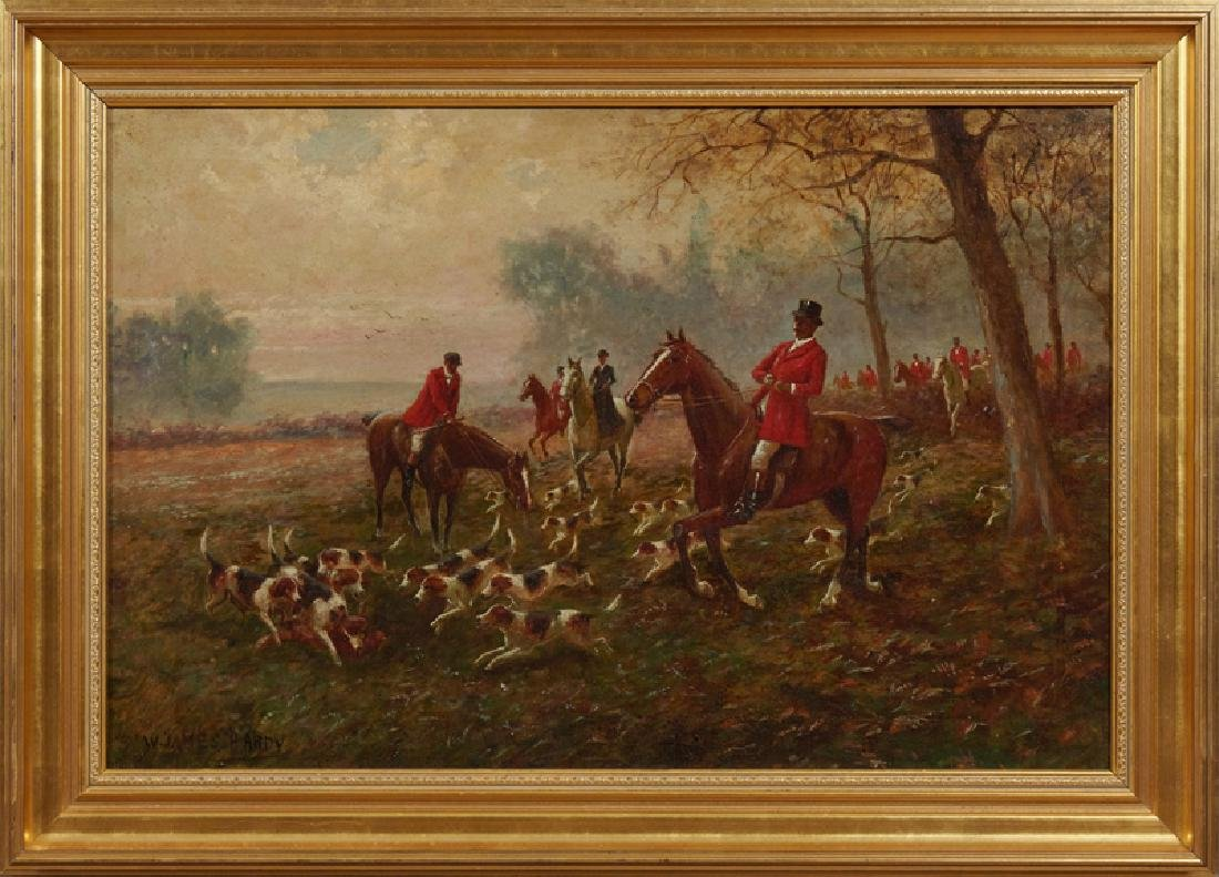 """W. James Hardy, """"Riding to the Hounds,"""" 20th c., oil on"""