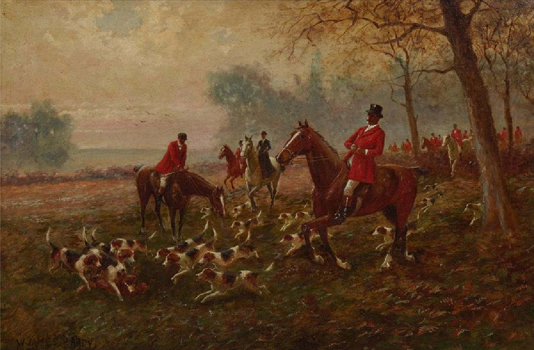 """W. James Hardy, """"Riding to the Hounds,"""" 20th c., oil on - 2"""
