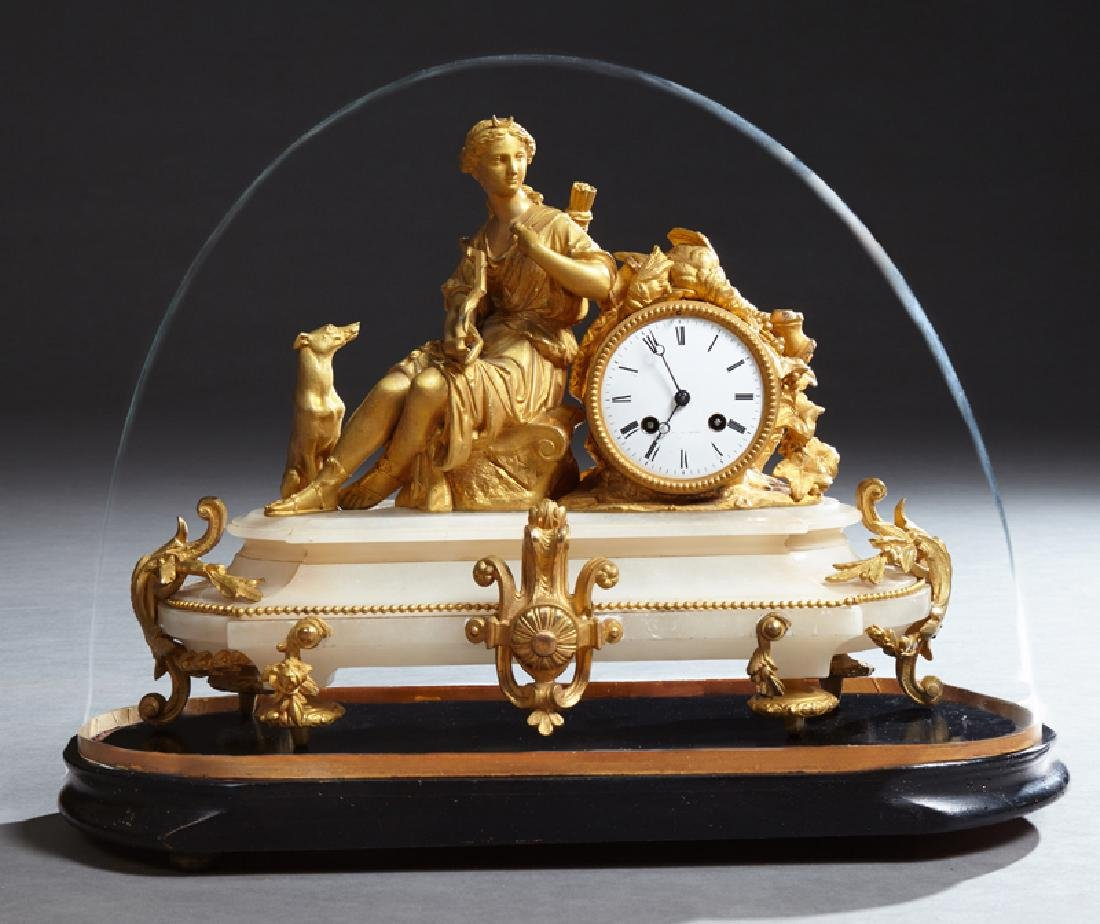 French Napoleon III Gilt Bronze and Alabaster Clock,