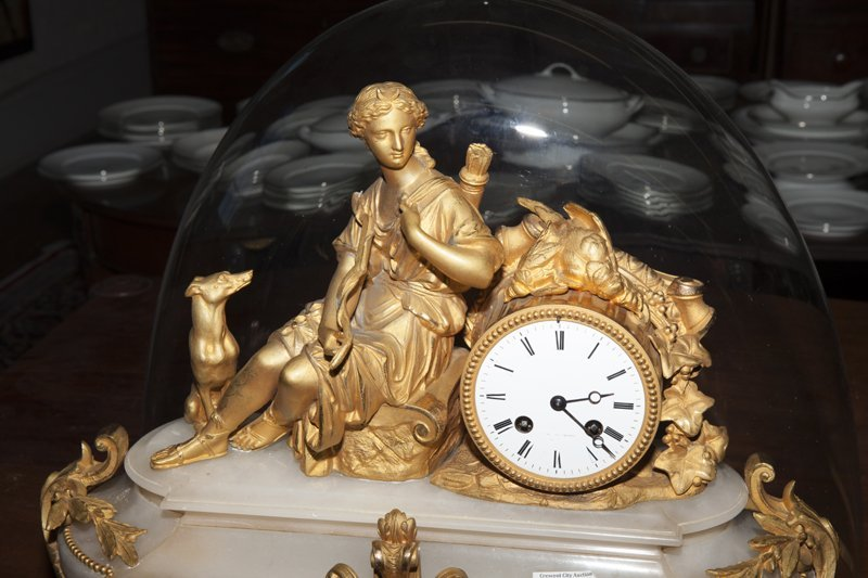 French Napoleon III Gilt Bronze and Alabaster Clock, - 3