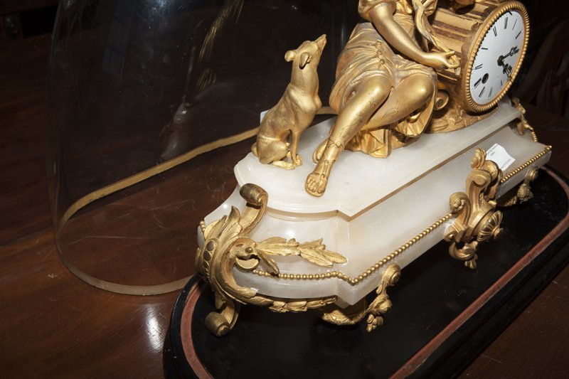 French Napoleon III Gilt Bronze and Alabaster Clock, - 4