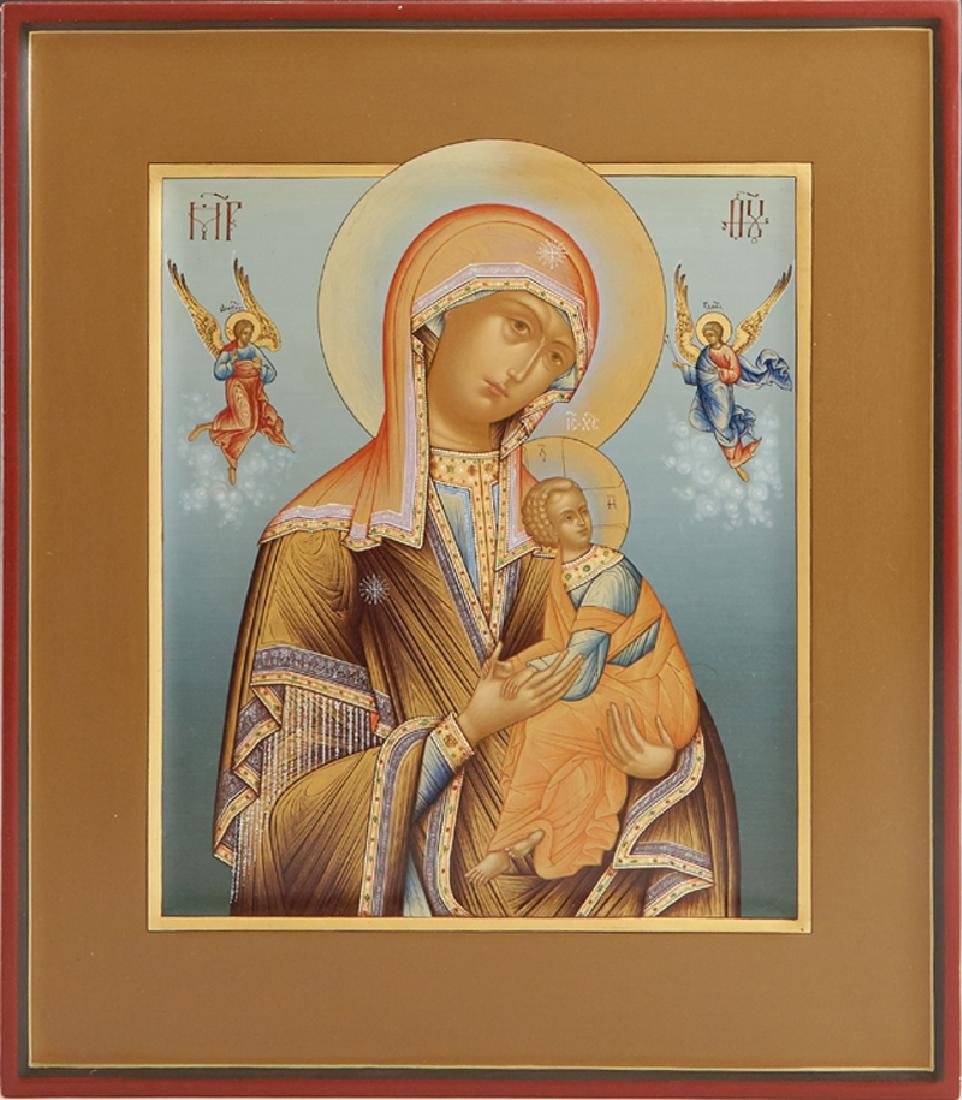 Russian Icon of the Virgin of Passion, 20th c., egg