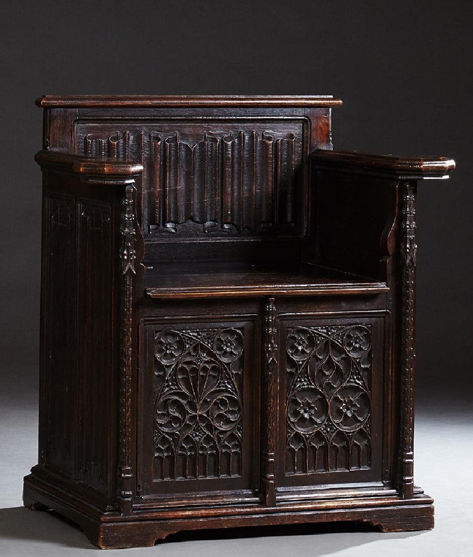 Gothic French Carved Oak Wainscot Arm Chair, c. 1880,