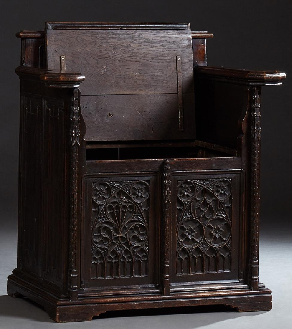 Gothic French Carved Oak Wainscot Arm Chair, c. 1880, - 2