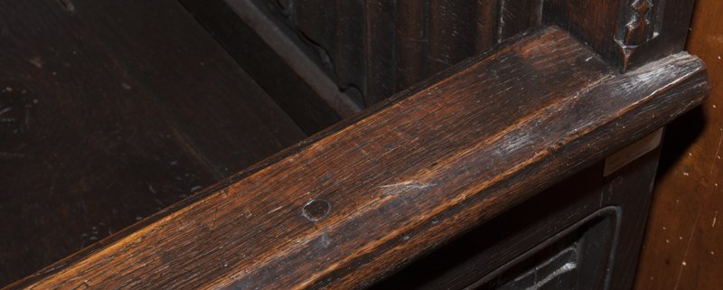 Gothic French Carved Oak Wainscot Arm Chair, c. 1880, - 3