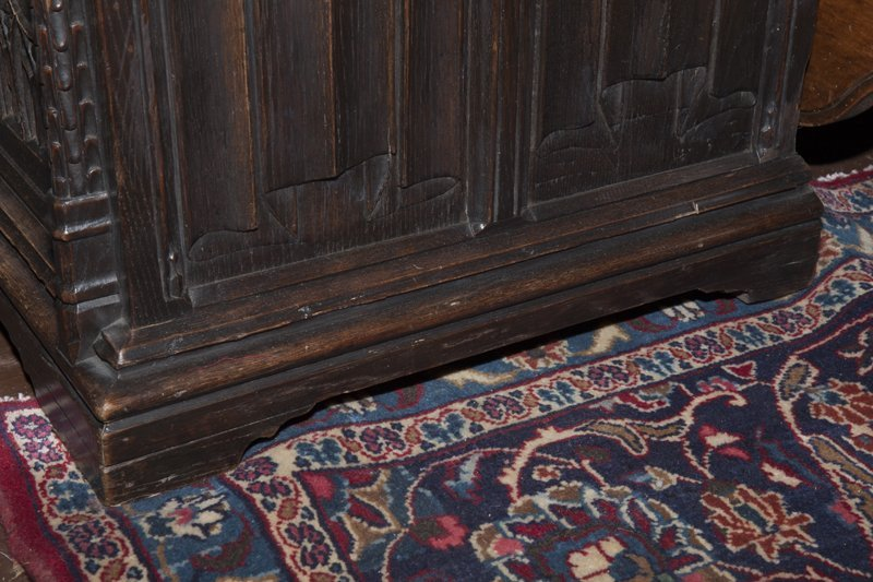 Gothic French Carved Oak Wainscot Arm Chair, c. 1880, - 4
