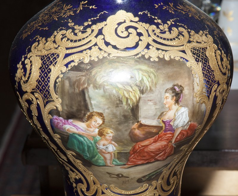 Pair of Sevres Style Painted Ormolu Mounted Cobalt - 2