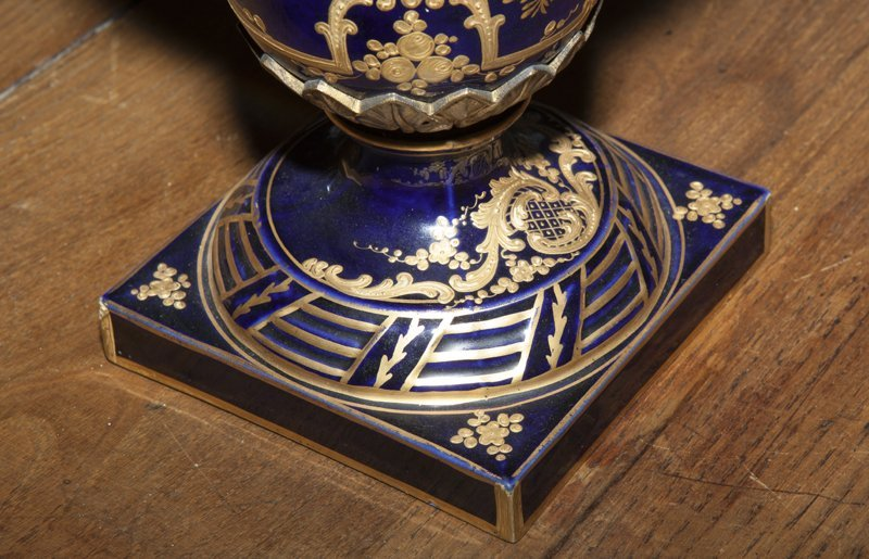 Pair of Sevres Style Painted Ormolu Mounted Cobalt - 3