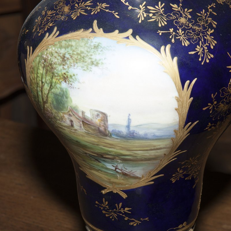 Pair of Sevres Style Painted Ormolu Mounted Cobalt - 4