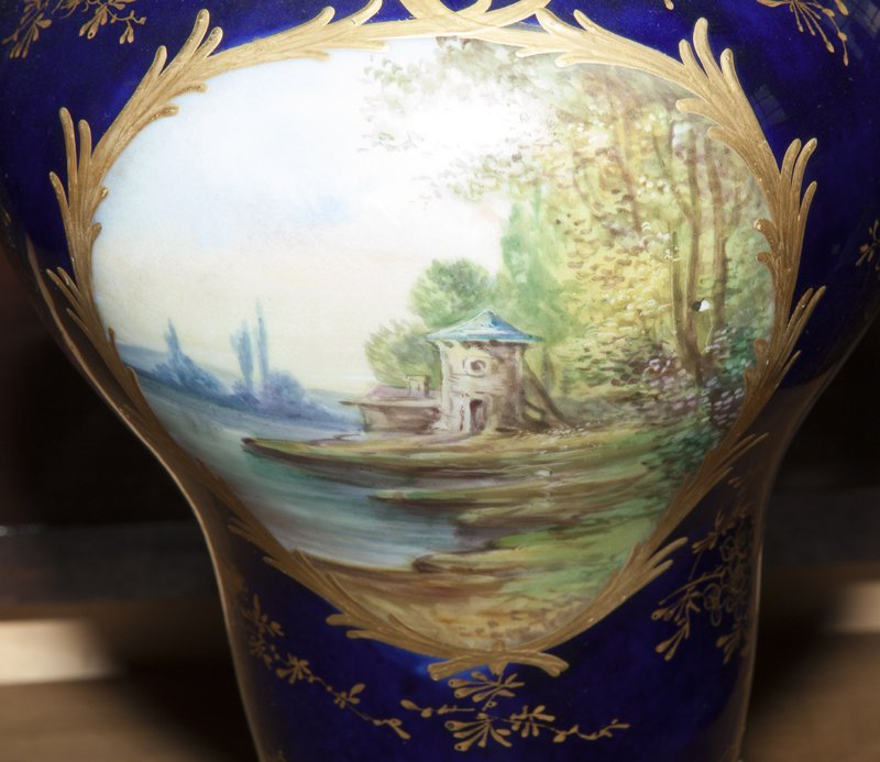Pair of Sevres Style Painted Ormolu Mounted Cobalt - 6