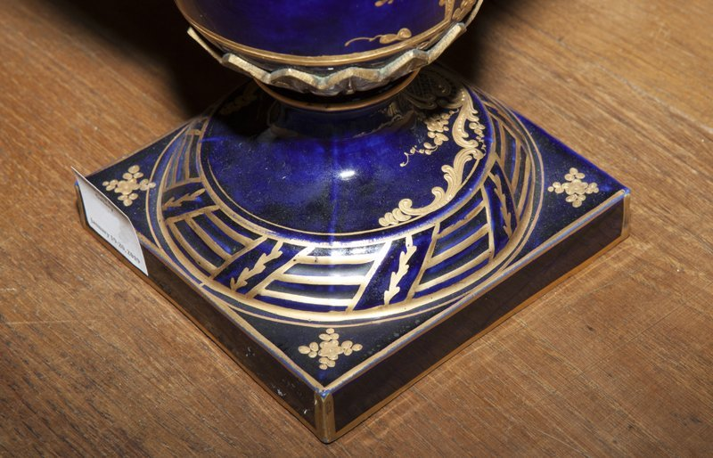 Pair of Sevres Style Painted Ormolu Mounted Cobalt - 7