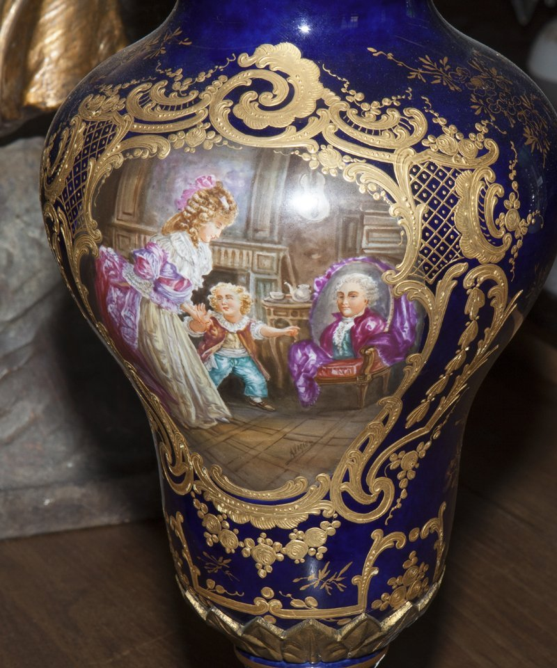 Pair of Sevres Style Painted Ormolu Mounted Cobalt - 8