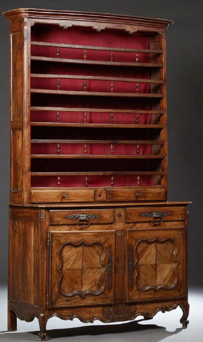French Louis XV Style Inlaid Walnut Vaisselier, late