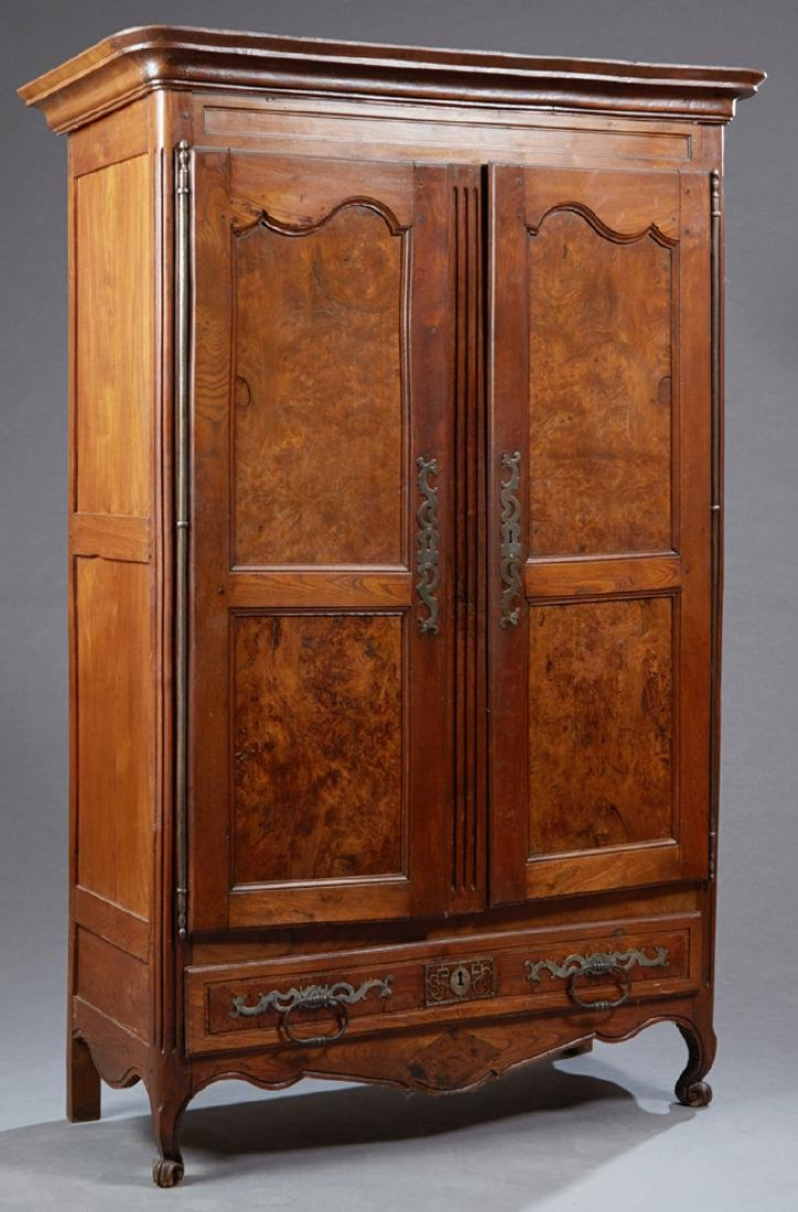 French Provincial Carved Walnut Louis XV Style Armoire,