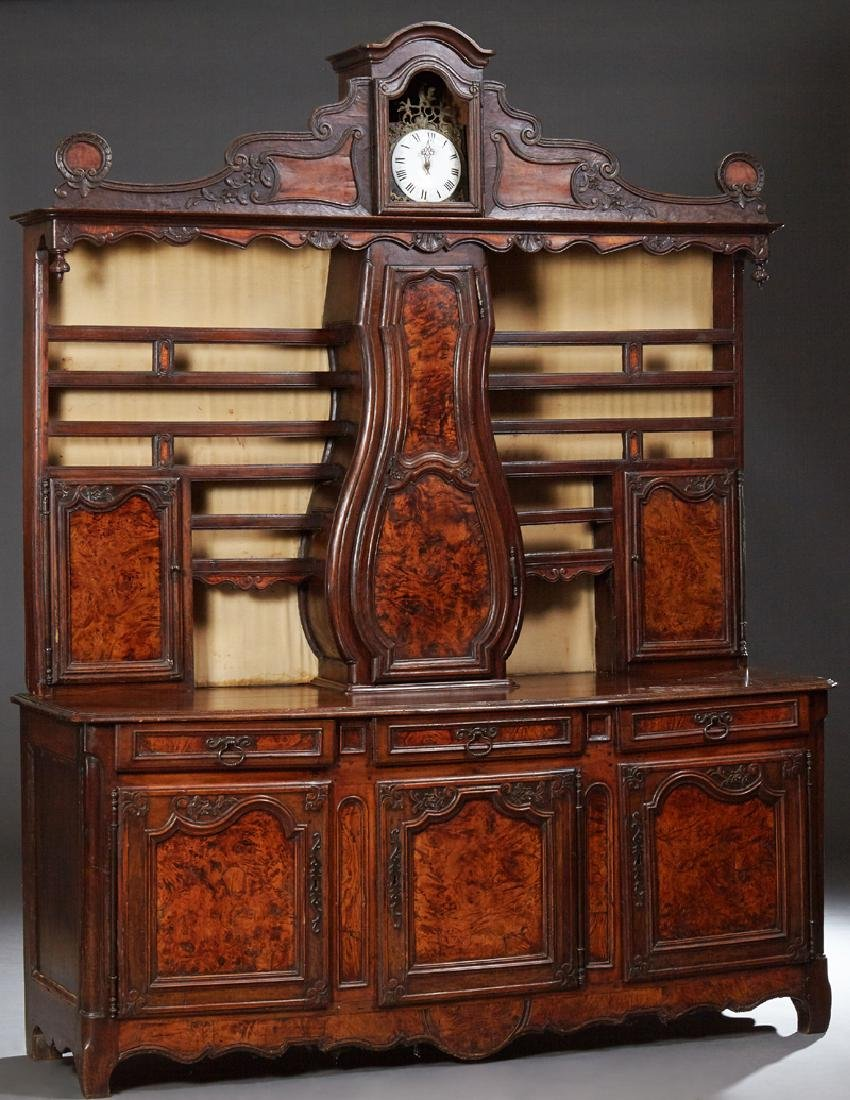 French Provincial Louis XV Style Carved Walnut and Elm