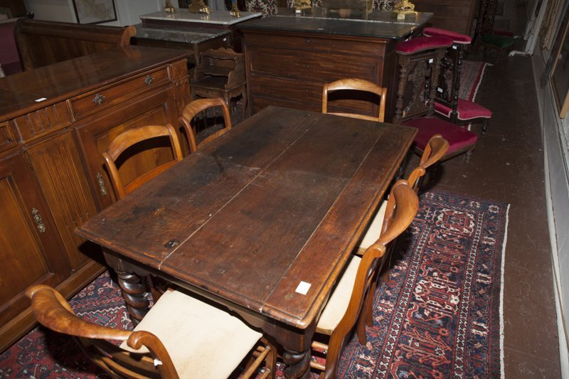 French Henri II Style Carved Oak Library Table, early - 2