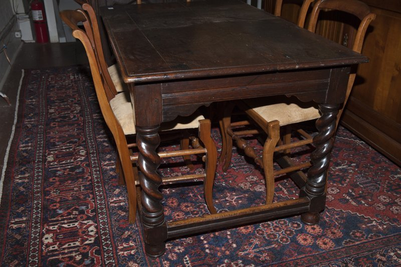 French Henri II Style Carved Oak Library Table, early - 7
