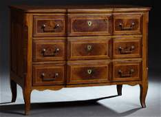 French Carved Inlaid Mahogany Louis XV Style Commode