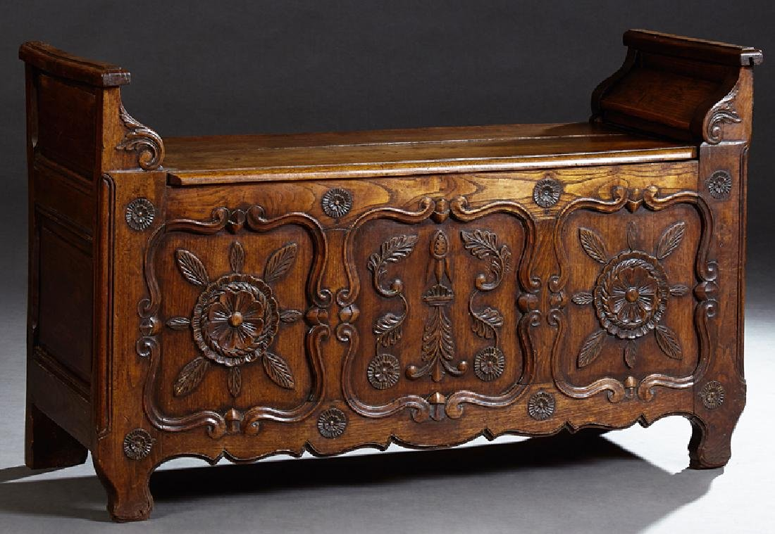 French Provincial Louis XV Style Carved Oak Bench, 19th