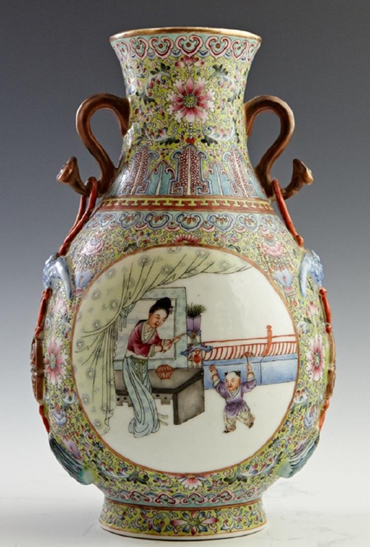 Chinese Porcelain Famille Rose Baluster Vase, 20th c.,