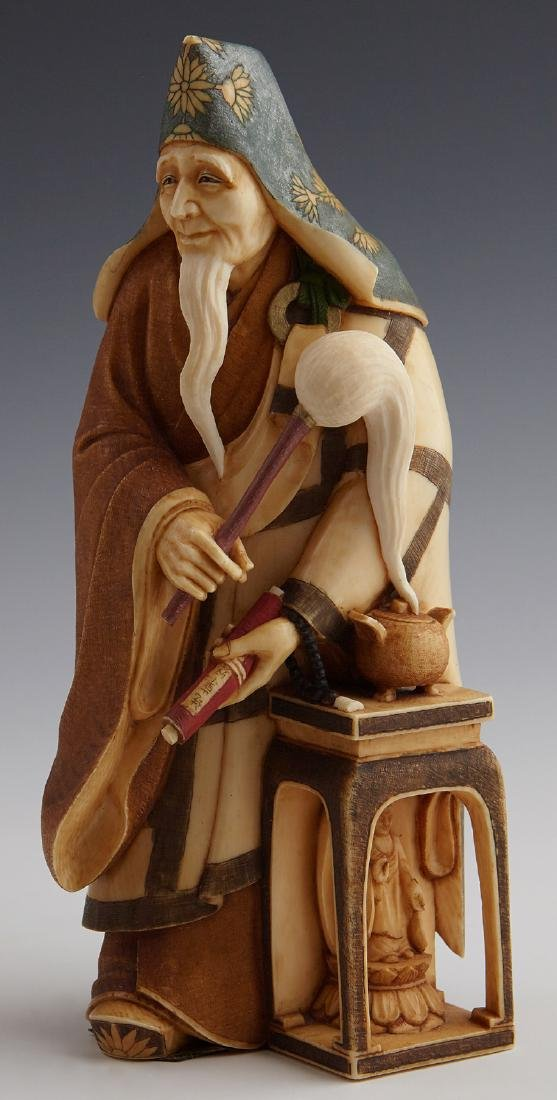 """Gaho Imai, """"The Priest,"""" early 20th c., carved and"""