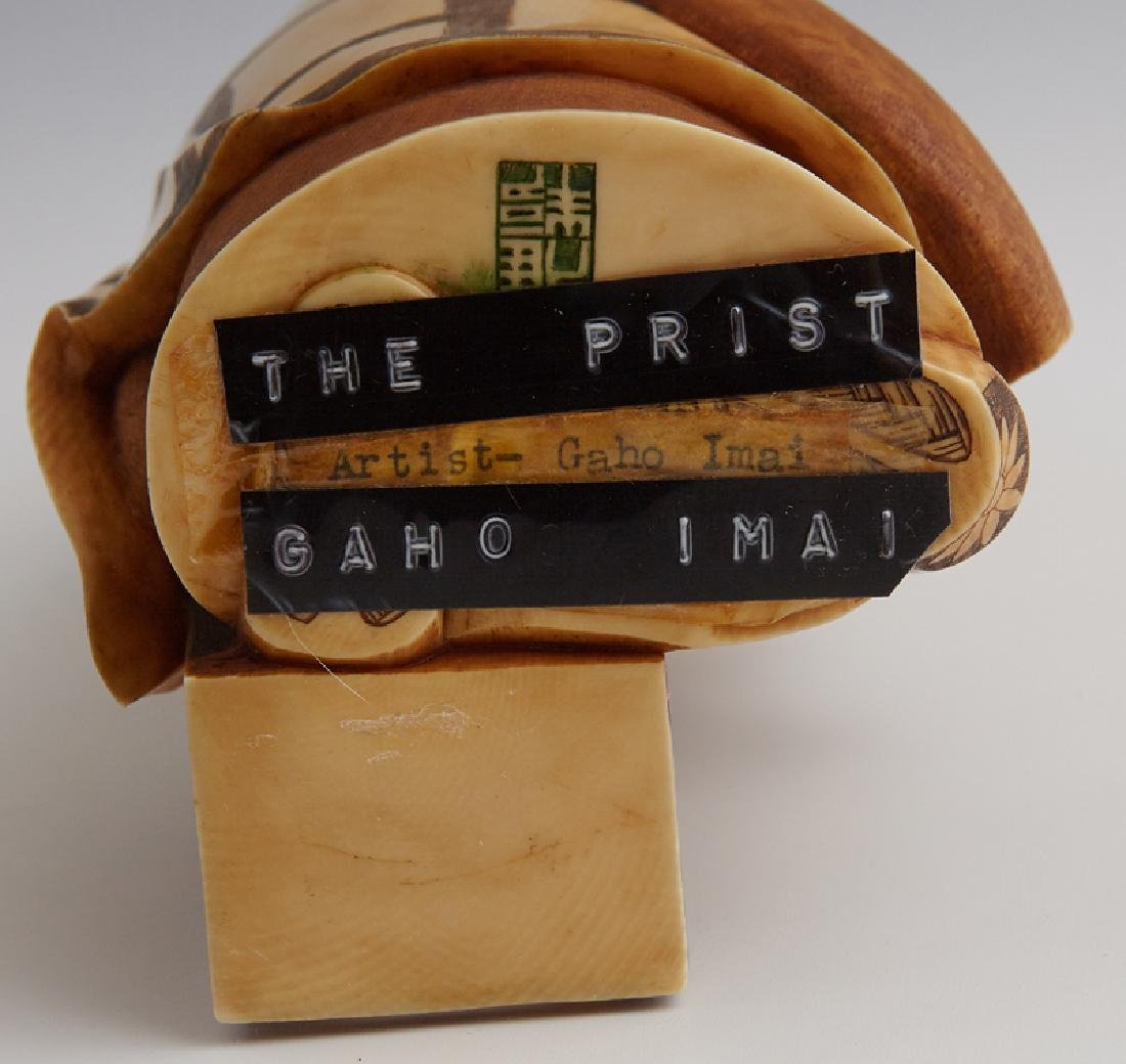 """Gaho Imai, """"The Priest,"""" early 20th c., carved and - 2"""