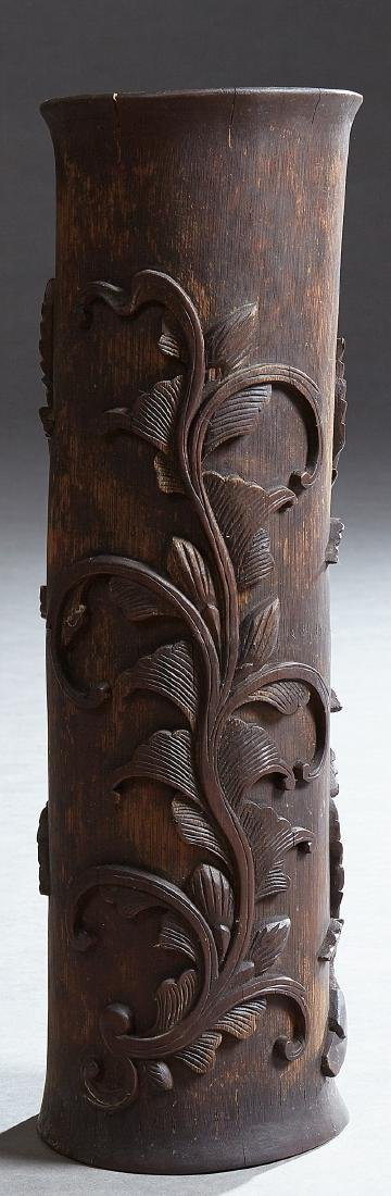 Chinese Carved Bamboo Vase, 20th c., decorated with a